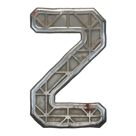 Industrial metal alphabet letter Z on white background. 3d rendering