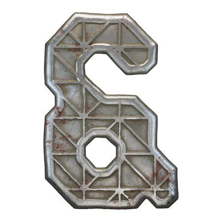 Industrial metal symbol ampersand on white background 3d rendering