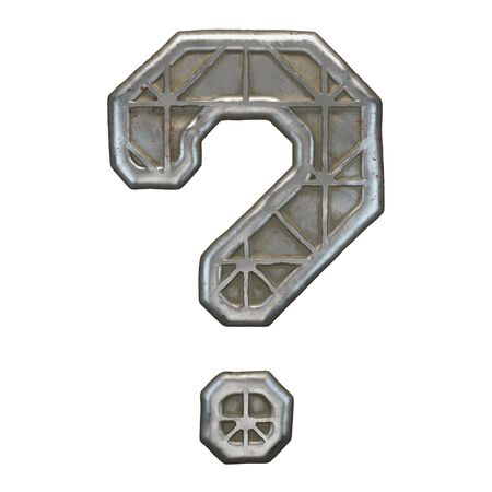 Industrial metal symbol question mark on white background 3d rendering