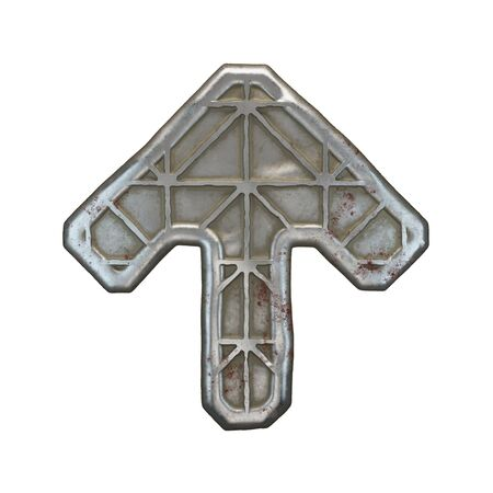 Industrial metal symbol up arrow on white background 3d rendering Фото со стока