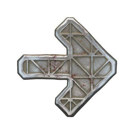 Industrial metal symbol right arrow on white background 3d rendering Banco de Imagens