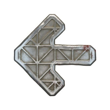 Industrial metal symbol left arrow on white background 3d rendering Banco de Imagens - 141034004