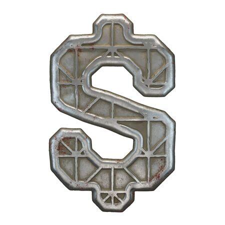 Industrial metal symbol dollar on white background 3d rendering