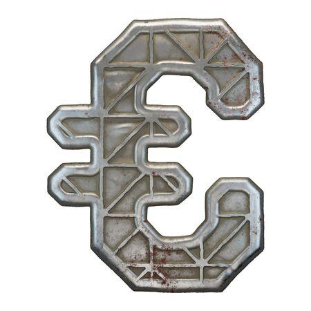 Industrial metal symbol euro on white background 3d rendering