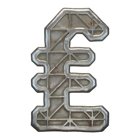 Industrial metal symbol lira on white background 3d rendering Banco de Imagens - 141034017