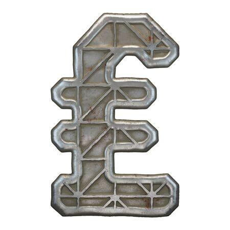 Industrial metal symbol lira on white background 3d rendering Banco de Imagens