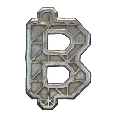 Industrial metal symbol bitcoin on white background 3d rendering