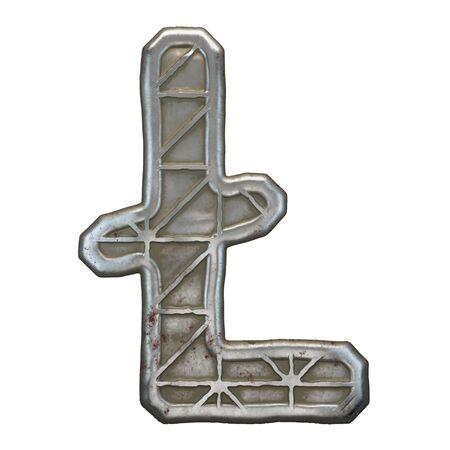 Industrial metal symbol litecoin on white background 3d rendering