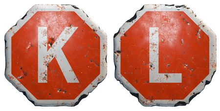 Set of letters K, L made of public road sign in red and white with a capital in the center isolated on white background. 3d rendering Reklamní fotografie