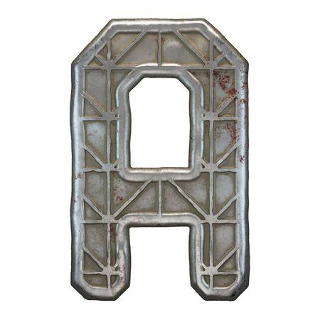 Industrial metal alphabet letter A on white background. 3d rendering Banco de Imagens