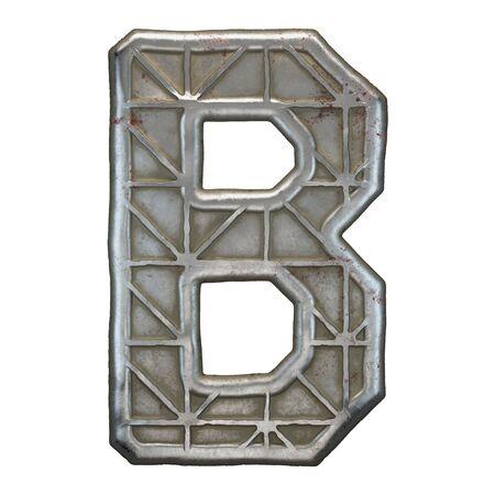 Industrial metal alphabet letter B on white background. 3d rendering Banco de Imagens