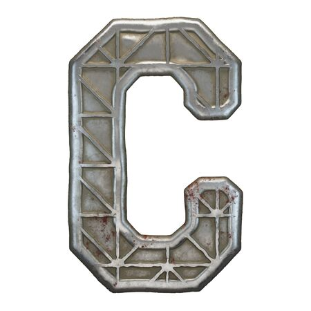 Industrial metal alphabet letter C on white background. 3d rendering