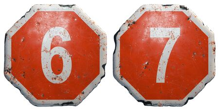 Set of numbers 6, 7 made of public road sign in red and white with a capital in the center isolated on white background. 3d rendering Banco de Imagens - 141037739