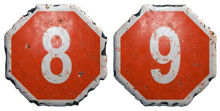 Set of numbers 8, 9 made of public road sign in red and white with a capital in the center isolated on white background. 3d rendering Banco de Imagens