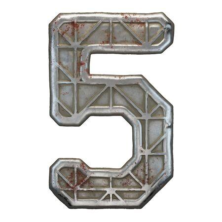 Industrial metal number 5 on white background 3d rendering