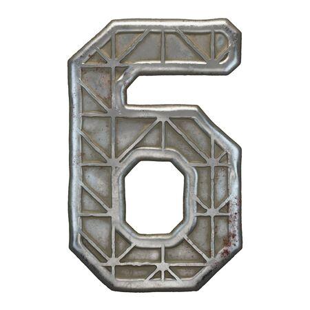 Industrial metal number 6 on white background 3d rendering Banco de Imagens