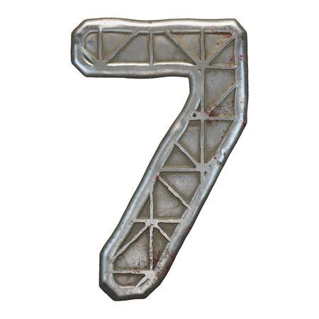 Industrial metal number 7 on white background 3d rendering Banco de Imagens