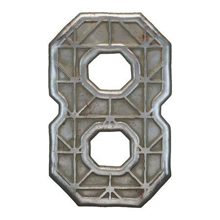 Industrial metal number 8 on white background 3d rendering