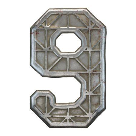Industrial metal number 9 on white background 3d rendering