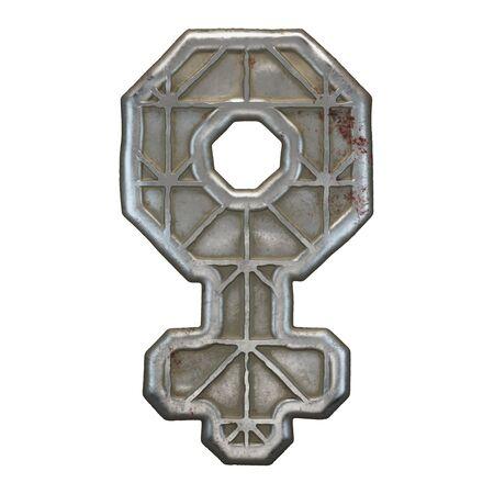 Industrial metal symbol female on white background 3d rendering