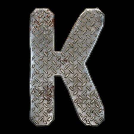 Industrial metal alphabet letter K on black background. 3d rendering