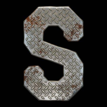 Industrial metal alphabet letter S on black background. 3d rendering