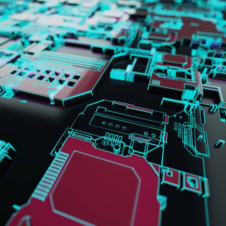 Circuit board futuristic server code processing. Neon color technology background. 3d rendering abctract circuit board.