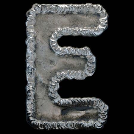 Industrial metal alphabet letter E on black background. 3d rendering 版權商用圖片 - 141636732