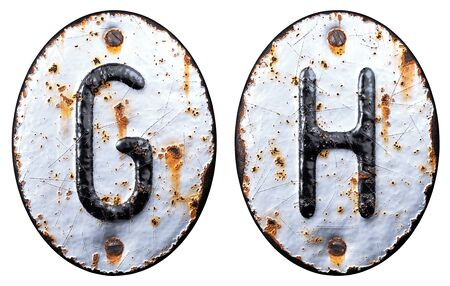 3D render set of capital letters G, H made of forged metal on the background fragment of a metal surface with cracked rust. 3d rendering