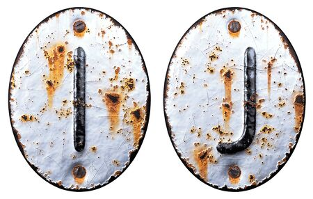 3D render set of capital letters I, J made of forged metal on the background fragment of a metal surface with cracked rust. 3d rendering
