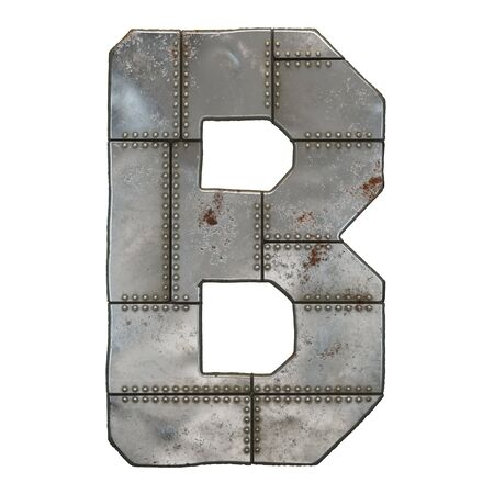 Industrial metal alphabet letter B isolated on white background. 3d rendering