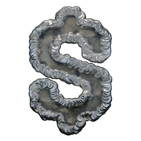 Industrial metal symbol dollar on white background 3d rendering