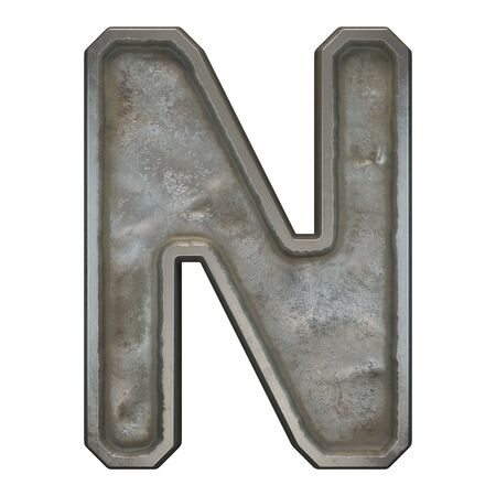 Industrial metal alphabet letter N on white background. 3d rendering Zdjęcie Seryjne