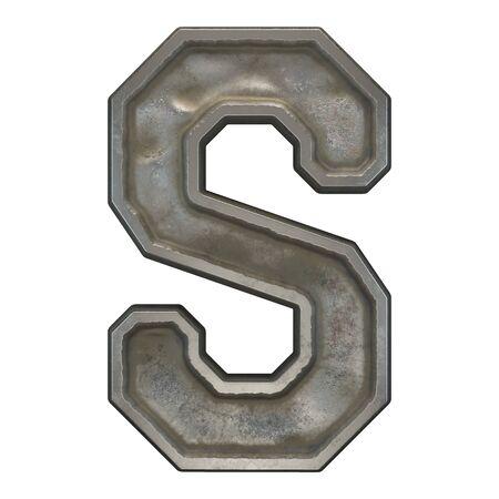 Industrial metal alphabet letter S on white background. 3d rendering