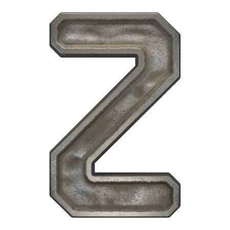 Industrial metal alphabet letter Z on white background. 3d rendering
