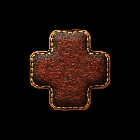 Symbol plus made of leather. 3D render font with skin texture on black background. 3d rendering