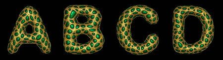 Letter set A, B, C, D made of realistic 3d render golden shining metallic. Collection of gold shining metallic with green color glass symbol isolated on black background