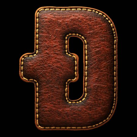 Symbol dashcoin made of leather. 3D render font with skin texture on black background. 3d rendering Banco de Imagens