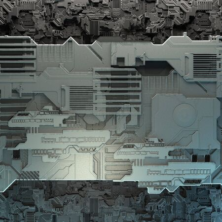 SciFi Panels. Futuristic texture. Spaceship hull geometric pattern. 3d illustration. Technology concept.