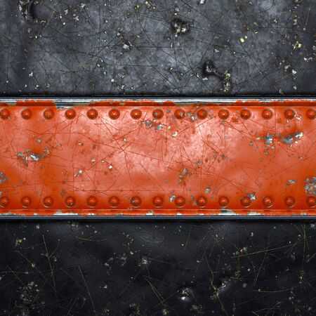 Strip of metal with rivets painted red in the shape of a rectangle in the center on black metal background 3d rendering Banco de Imagens