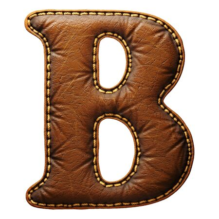 Leather letter B uppercase. 3D render font with skin texture isolated on white background. 3d rendering