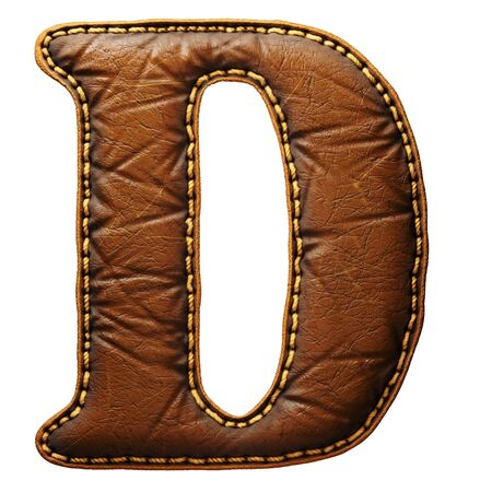 Leather letter D uppercase. 3D render font with skin texture isolated on white background. 3d rendering