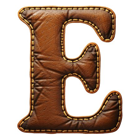 Leather letter E uppercase. 3D render font with skin texture isolated on white background. 3d rendering