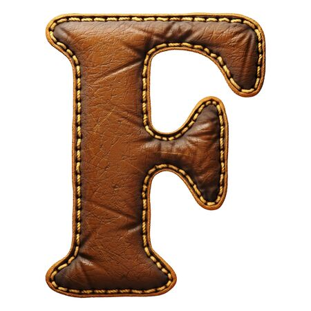 Leather letter F uppercase. 3D render font with skin texture isolated on white background. 3d rendering