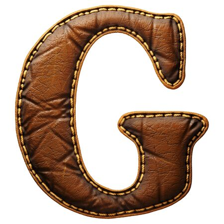 Leather letter G uppercase. 3D render font with skin texture isolated on white background. 3d rendering Banco de Imagens