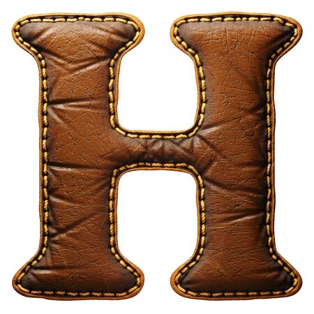 Leather letter H uppercase. 3D render font with skin texture isolated on white background. 3d rendering