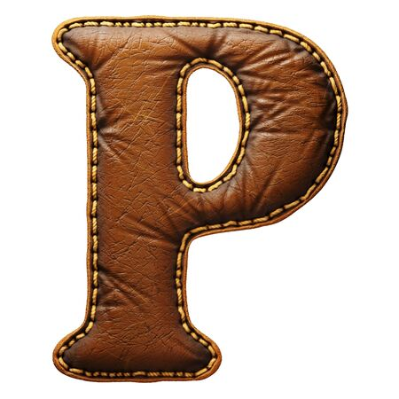 Leather letter P uppercase. 3D render font with skin texture isolated on white background. 3d rendering
