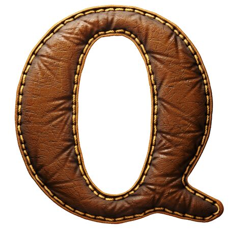 Leather letter Q uppercase. 3D render font with skin texture isolated on white background. 3d rendering