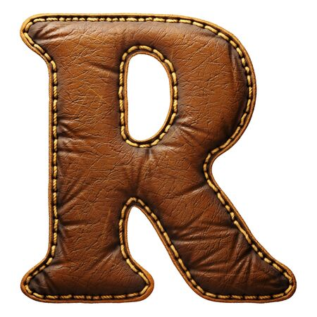 Leather letter R uppercase. 3D render font with skin texture isolated on white background. 3d rendering
