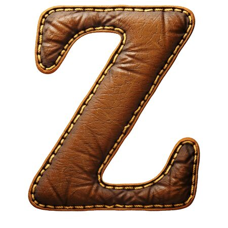 Leather letter Z uppercase. 3D render font with skin texture isolated on white background. 3d rendering